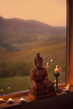 Buddha altar in a window sill