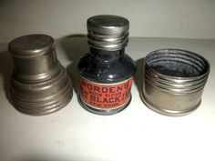 WORDEN'S INK BOTTLE WITH LABEL AND METAL SCREW CASE JULY 28,1885