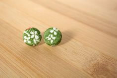 Japanese kimono fabric post earrings  green with by sarabamanda