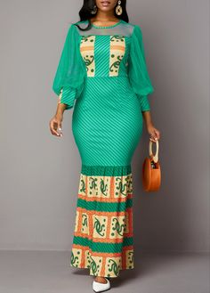 Fashion dresses 646407352752280118 - Cocktail Party Dress Mesh Panel Tribal Print Lantern Sleeve Maxi Dress Source by timfa_coul Long African Dresses, Latest African Fashion Dresses, African Print Dresses, African Print Fashion, Women's Fashion Dresses, Sexy Dresses, Sheath Dresses, Trendy Dresses, Asian Fashion