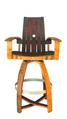 Wine Barrel Bar Chair red burgundy natural by HungarianWorkshop Bar Chairs, Bar Stools, Wine Barrel Bar, Wine Furniture, Barris, Barrel Projects, Red Burgundy, Pallet, Whiskey