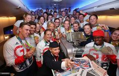 Team GB fly back from Rio on British Airways Flight Pictures