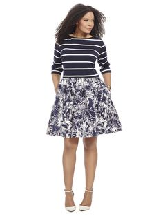 Fit & Flare Dress In Stripes and Floral by Taylor Dresses Available in sizes 14W-24W