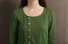 Linen Maxi Dress Moss Green Asymmetrical Semi-Fitted Casual   Etsy Kurta Neck Design, Dress Neck Designs, Kurta Designs Women, Pin On, Linen Dresses, Lace Gowns, Plus Size Maxi Dresses, Dame, Casual