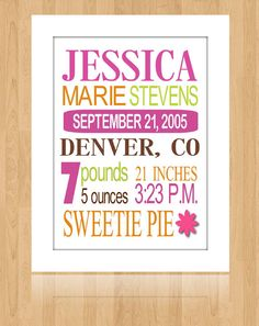 Custom Birth Announcement Print Art for by SimpleandStunning2, $18.00