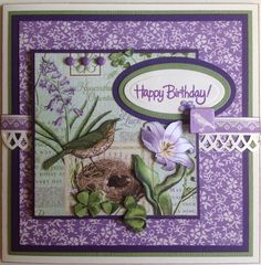 Birthday Card - Graphic 45 Time to Flourish - March. Handcrafted by Debbie Hill - June 8, 2016.