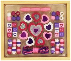 Kids' Jewelry Making Kits - Melissa  Doug Shimmering Hearts Wooden Bead Set 45 Beads and 3 Laces for JewelryMaking >>> More info could be found at the image url.