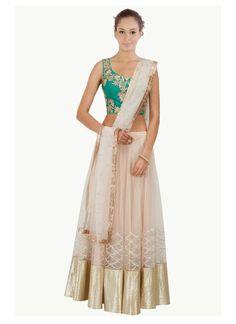 cream turquoise Net silk Bridal Lehenga Choli