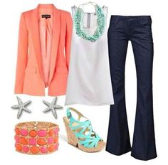 white flowy tank, dk wash trousers, coral blazer, mint wedge sandals, mint shell necklace, silver starfish studs, gold/coral stone bangle