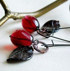Plum Tart Earrings - Vintage Glass and Sterling