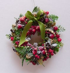 snowy forest in a dollhouse wreath with seed pods and berries 2300 via etsy miniature christmas - Small Christmas Wreaths