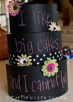 #Cricut - Chalkboard cake made using paper mache boxes.