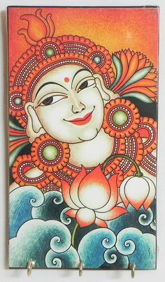 Radha Mural Deco Painting on a Wooden Key Rack with Three Hooks - Wall Hanging (Wood)