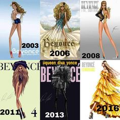Beyoncé Album Art - Pop-R&B Diva Glamour, Southern Belle Glamour, Futuristic Edgy Glamour, High Fashion Glamour, Urban Sporty Glamour, Afro-Bohemian Glamour.