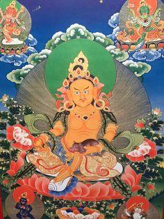 Yellow Jambhala (Kubera) thangka painting.  Art by TraditionalArtofNepal.com