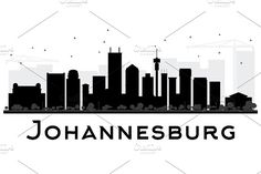 Johannesburg City skyline black and white silhouette. Simple flat concept for tourism presentation, banner, placard or web site. Johannesburg Skyline, City Outline, Skyline Painting, Black And White City, Skyline Silhouette, Landscape Sketch, Flat Design Illustration, Africa Art, Pencil Art Drawings