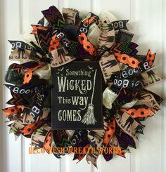 Halloween Wreath, Halloween Wreaths, Witch Wreath, Mesh Wreath, Paper Mesh…
