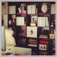ikea expedit shelves and desk Ikea Expedit Bookcase, Ikea Shelves, Shelving, Bookshelves, Office Nook, Home Office Space, Office Spaces, Ikea Decor, Living Room Inspiration