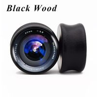 2pcs/lot Vivi Camera Lens Black Wood Ear Gauge Saddle Fit Ear Plugs and Tunnels Ear Stretchers Piercing 8mm-25mm