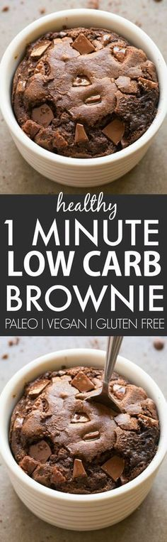 Healthy 1 Minute Low Carb Brownie- Oven option too- Moist gooey and tender on the outside it's the perfect snack dessert or treat to enjoy anytime- Packed with protein and completely sugar free and grain free! {vegan gluten free paleo recipe}- http:/ Low Carb Sweets, Healthy Sweets, Low Carb Desserts, Healthy Snacks, Simple Snacks, Diabetic Snacks, Mug Recipes, Paleo Recipes, Low Carb Recipes