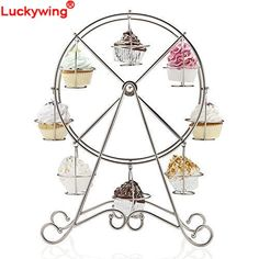Creative Stainless Steel Ferris Wheel Cupcake Display Stand Holder 8-Cup for Parties
