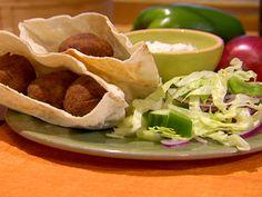 Falafel Sandwiches with Sesame Mint Yogurt Sauce recipe from Dave Lieberman via Food Network