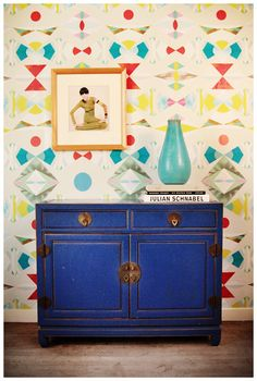 10 Sources for Removable Wallpaper - Royal blue painted cabinet