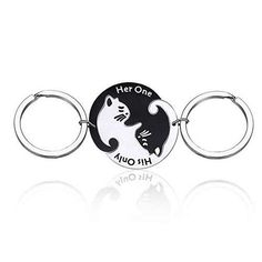 Cat Puzzle Piece Matching Couple Keychain Set His Only Her One Yin Yang Matching Puzzle Keychain Cat Animal Lover Gift Matching Couple Gifts, Matching Couples, Cool Keychains, Unique Gifts, Best Gifts, Cat Keychain, Black And White Dog, Card Sayings, Gifts For Pet Lovers