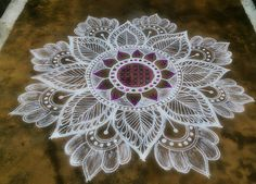 Adopted from the creation of Deepika sama Simple Flower Rangoli, Rangoli Designs Flower, Rangoli Kolam Designs, Colorful Rangoli Designs, Rangoli Ideas, Rangoli Designs Images, Kolam Rangoli, Beautiful Rangoli Designs, Simple Rangoli