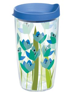April showers bring cool flowers like these blue and teal tulips. This Tervis drinkware thinks spring every day.