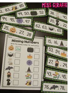 Halloween missing number math station and other great fun things on the blog for Halloween