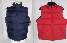 Polo-Ralph-Lauren-Blue-Red-Pony-Logo-Puffy-Reversible-Vest-L-16-18