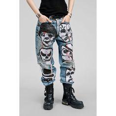 Faith Connexion Skull Head Graffiti Tag Boyfriend Jeans Handpainted By…  Modré Džíny 3645b0349f