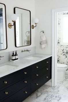 A few weeks ago, we revealed our master bathroom makeover (check out the post here if you haven't already! We just tallied up all the invoices and expenses for our bathroom renovation and we wanted Bathroom Vanity Designs, Contemporary Bathroom Designs, Bathroom Interior Design, Bathroom Faucets, Black Vanity Bathroom, Bathroom Ideas, Black Cabinets Bathroom, Gold Bathroom, Black And White Master Bathroom