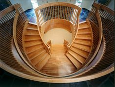 Kingsport Residence No. 4 -Stair Redesign with cast glass under landing.Photography by Doug Salin. Curved Staircase, Cast Glass, It Cast, Stairs, Staircases, Stone, Architecture, Landing, Spiral