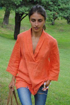 Orange linen tunic, linen tunic dress, v-neck linen tunic, casual linen top with shawl collar, linen tunics for women