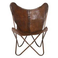 Kare Butterfly Chair Leer bruin - DesignOnline24.nl