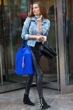 30+ Outfits We Spotted Outside The Victoria's Secret Casting Call #refinery29 http://www.refinery29.com/victorias-secret-angel-model-off-duty-street-style#slide-35 Solveig MorkOf course, what's a model-off-duty roundup without a choker?...