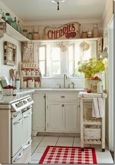 red and white cottage kitchen