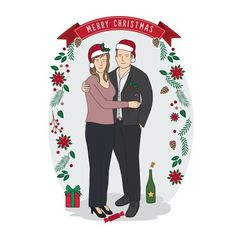 Personalised Digital Couple Portrait - portrait with pets illustration, Christmas family illustration with pets, gift for her Family Christmas, Merry Christmas, Family Illustration, Couple Portraits, Gifts For Her, Trending Outfits, Handmade Gifts, Illustrations, Digital