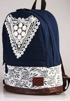 Backpack with crochet--too bad my backpack days are over =/ lol