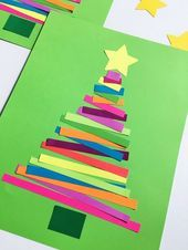 ▷ 1001 + Ideen an Weihnachten basteln mit Kindern Christmas tree made of colorful stripes, making Christmas cards with children Christmas Crafts For Kids To Make, Diy Christmas Tree, Simple Christmas, Kids Christmas, Summer Crafts, Christmas Movies, Kids Cards, Ideias Fashion, Card Making