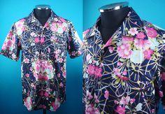Cotton Kimono Hawaiian shirt, yukata fabric, dark blue, Men, US size M by PriscillaTokyo on Etsy