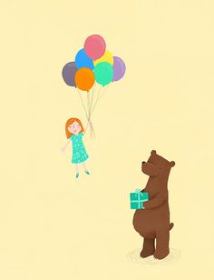 Bear and Girl - Party by Marloes de Vries