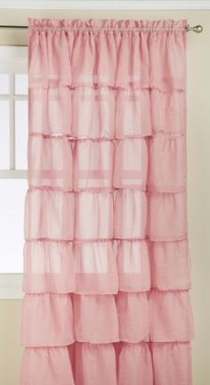 Lorraine Home Fashions Gypsy Shabby Chic Layered Ruffle Window Curtain Panel, 60 by 84-Inch, Pink - Sears