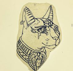 Just read Riordian's red pyramid & Bast was the badass but lovable cat goddess. Would likely put an ankh on the head jewels or replace the scarab Bast Tattoo, Nefertiti Tattoo, Scarab Tattoo, Egypt Tattoo, 1 Tattoo, Tatoo Art, Tattoo Drawings, Egyptian Goddess Tattoo, Egyptian Cat Tattoos