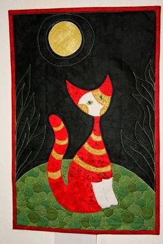 a cat in the style of R.Wachtmeister - Red cat and moon quilt by Jeannette on naehyoga.blogspot.fr - closeups on previous post