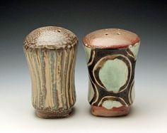 Lisa York Arts Ceramic Salt and Pepper Shaker Soda Fired with wax resist glaze designs.