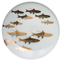 School of Fish Gold Dinnerware by Caskata | Gracious Style