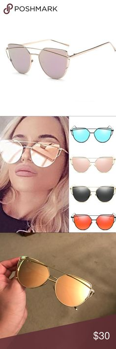 Oversized rose gold mirrored sunglasses Super stylish sunglasses, oversized. Gold and pink tint to mirrored part. Accessories Sunglasses